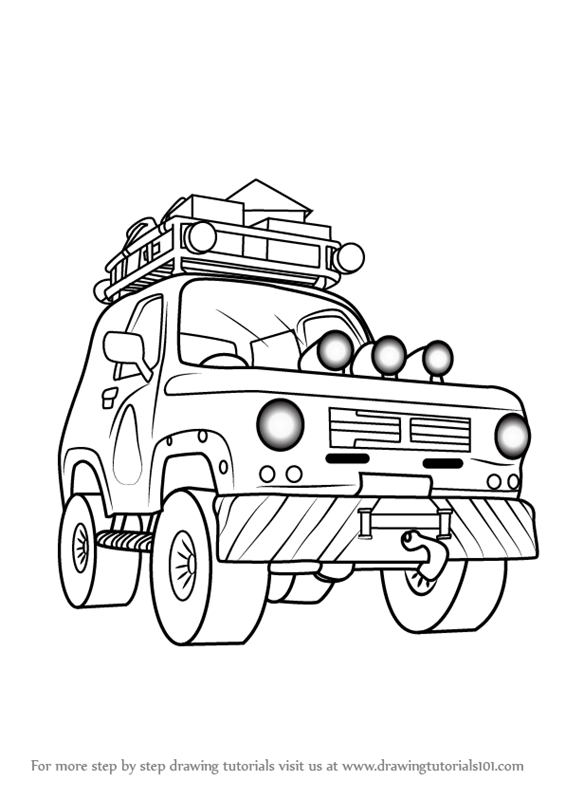 how to draw a 4x4 truck step by step