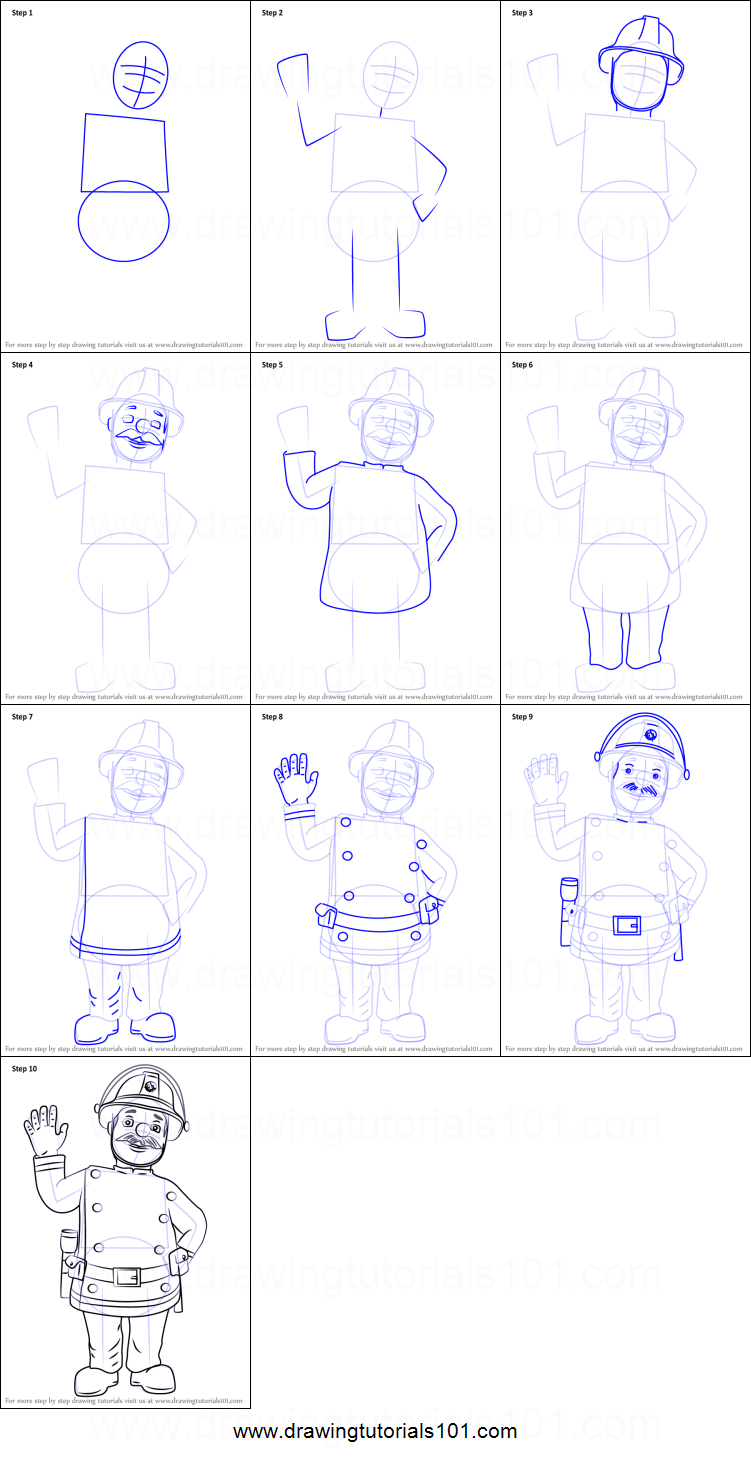 How to Draw Station Officer Steele from Fireman Sam printable step