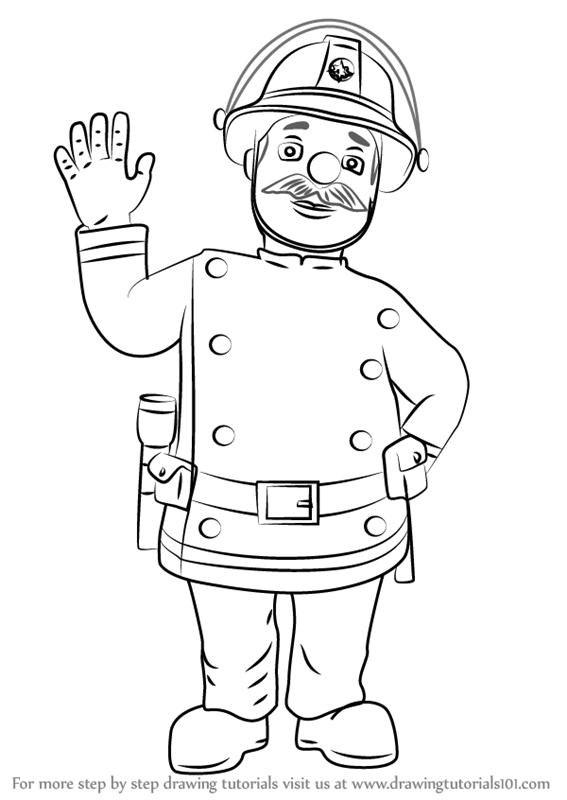 Learn How To Draw Station Officer Steele From Fireman Sam Fireman