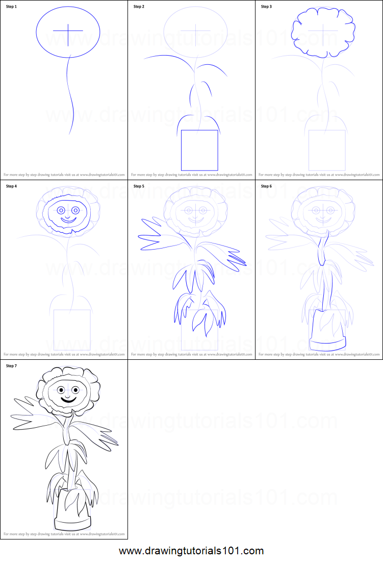 How to Draw Little Weed from Flower Pot Men printable step ...