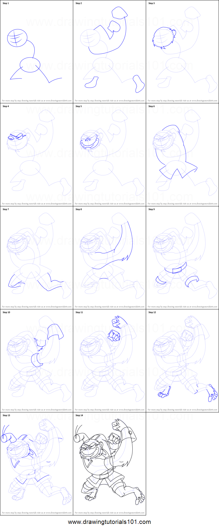 How To Draw Bobo Haha From Generator Rex Printable Step By Step