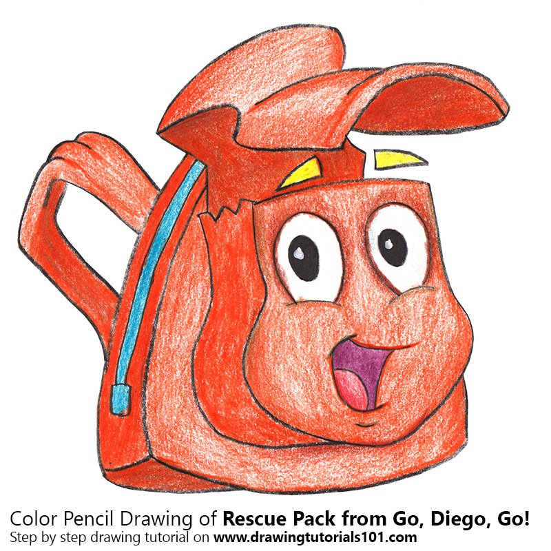 Rescue Pack from Go, Diego, Go! Color Pencil Drawing