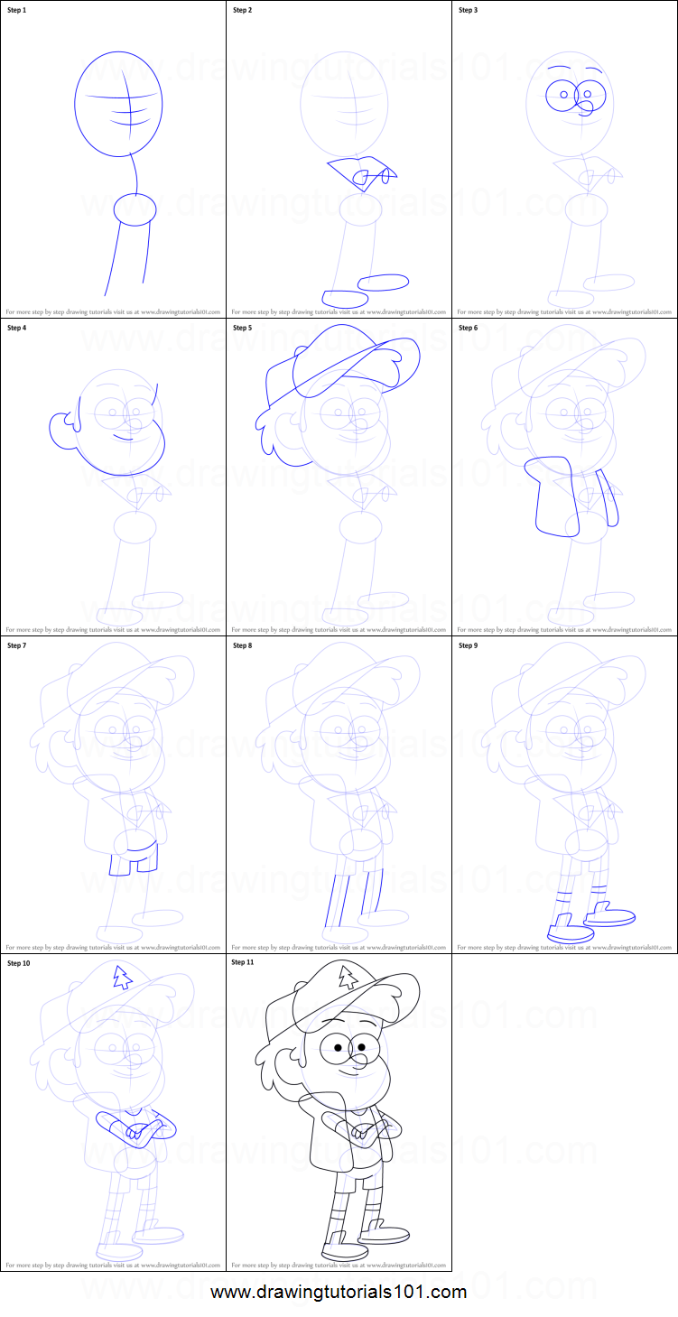 how to draw gravity falls dipper