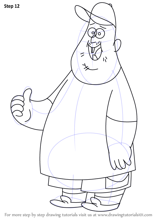 Step By Step How To Draw Soos Ramirez From Gravity Falls