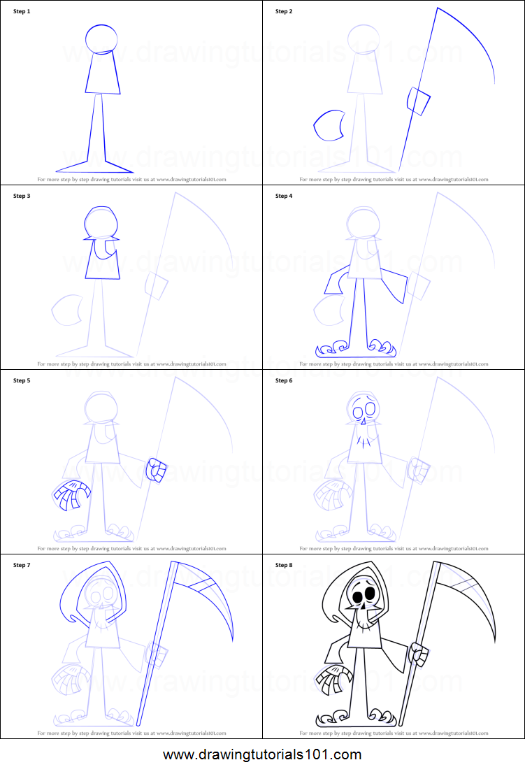 How to Draw The Grim Reaper from Grim  Evil printable step by