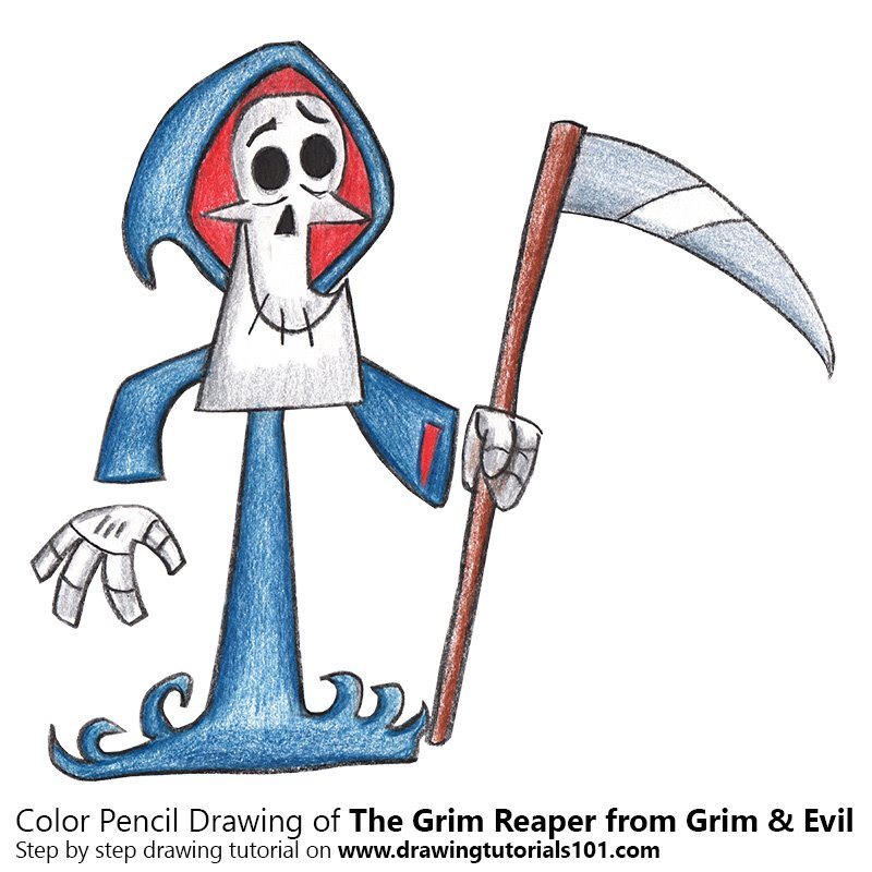 The Grim Reaper from Grim & Evil Color Pencil Drawing