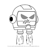 How to Draw Evil Helmet from Grojband