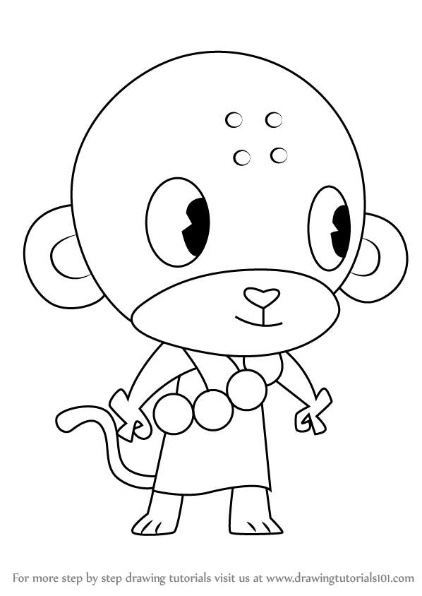 learn how to draw buddhist monkey from happy tree friends happy