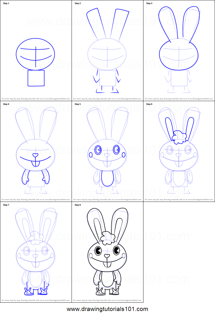 How To Draw Cuddles From Happy Tree Friends Printable Step