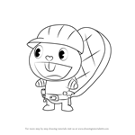 How to Draw Handy from Happy Tree Friends