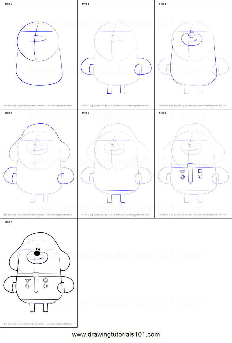 How To Draw Duggee From Hey Duggee Printable Step By Step