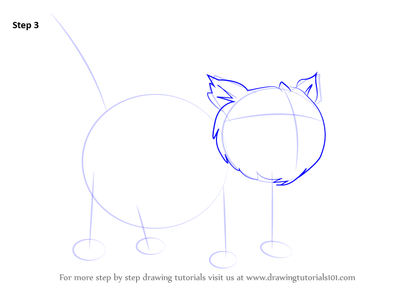 how to draw a fluffy cat step by step