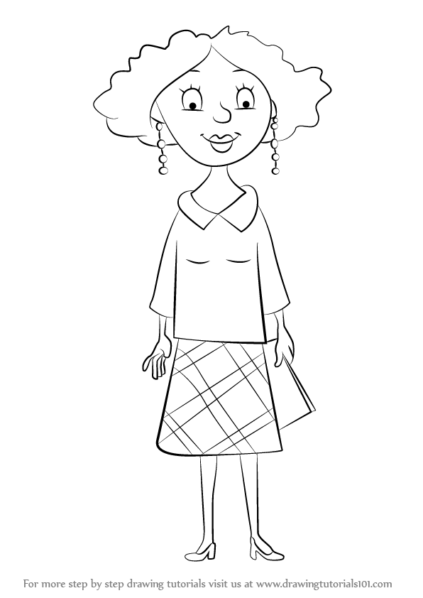 Step By Step How To Draw Miss Lovely From Horrid Henry DrawingTutorials101