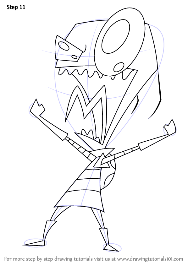 Learn How To Draw Zim From Invader Zim Invader Zim Step