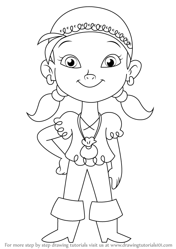 izzy coloring pages | Learn How to Draw Izzy from Jake and the Never Land ...