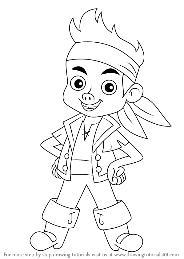 how to draw jake from jake and the never land pirates
