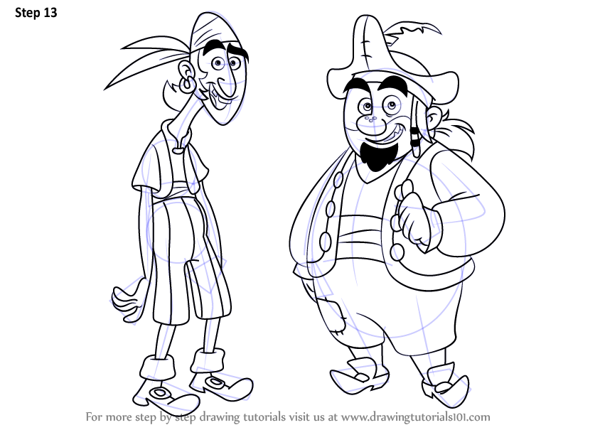 learn how to draw sharky and bones from jake and the never land pirates  jake and the never land