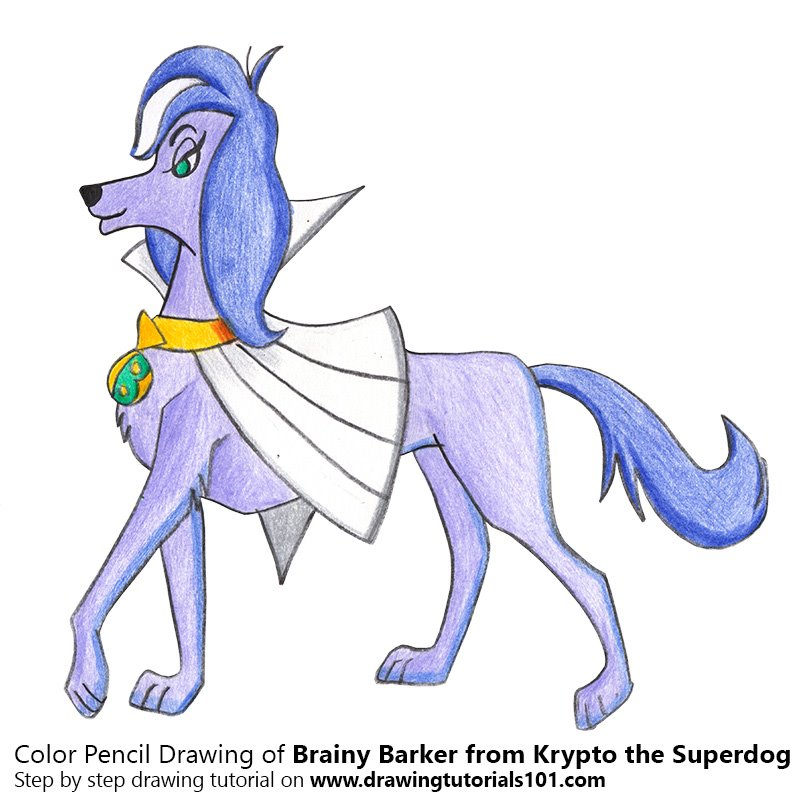 Brainy Barker from Krypto the Superdog Color Pencil Drawing