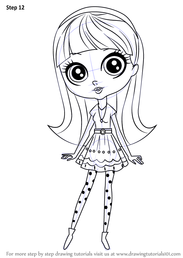 Step By Step How To Draw Blythe Baxter From Littlest Pet