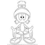 How to Draw Marvin the Martian from Looney Tunes