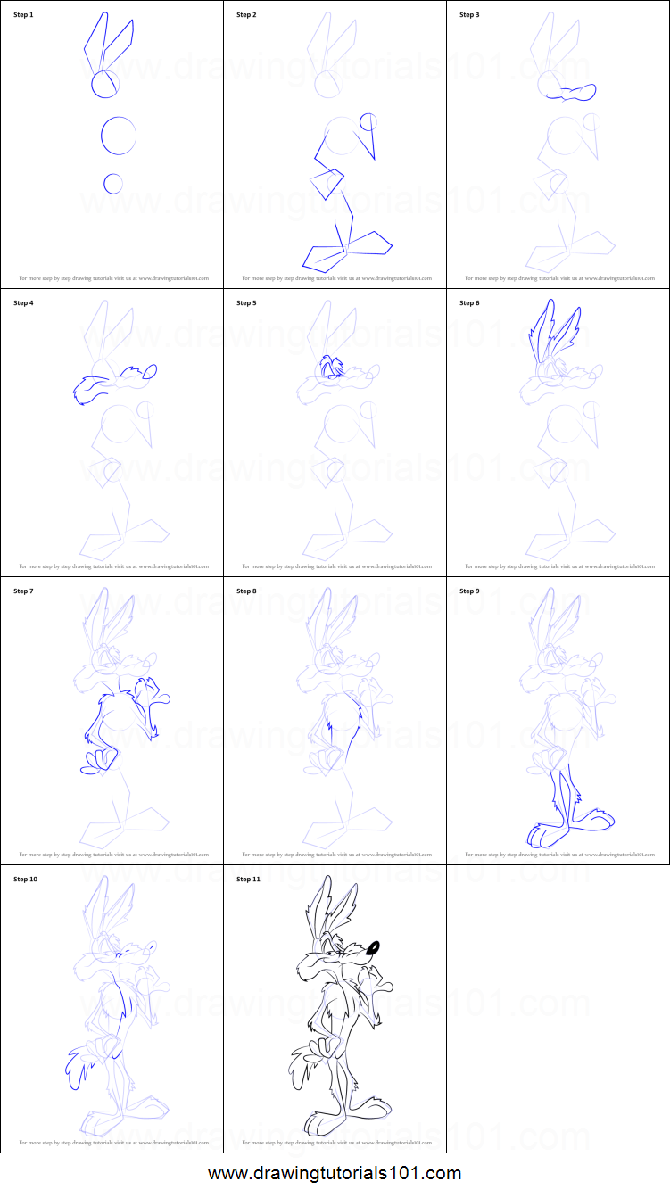 Uncategorized How To Draw A Coyote Step By Step how to draw wile e coyote from looney tunes printable step by drawing sheet drawingtutorials101 com