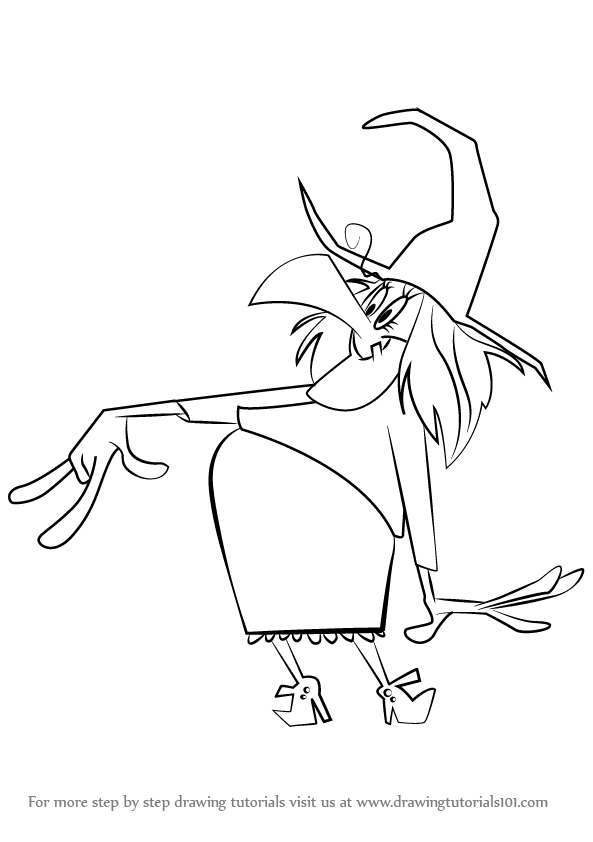 Learn How To Draw Witch Lezah From Looney Tunes Looney Tunes Step