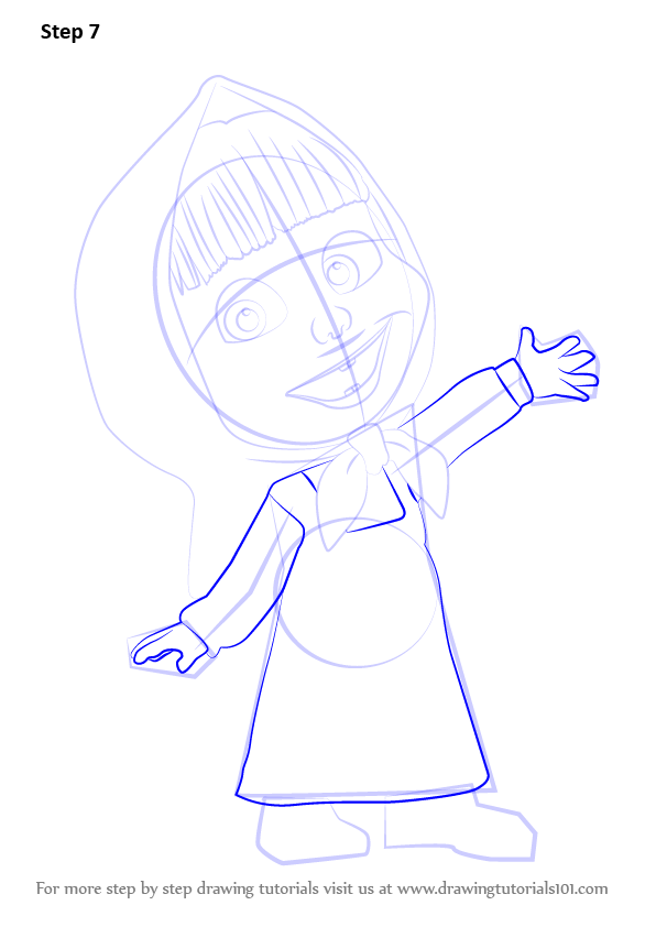 step by step how to draw masha from masha and the bear