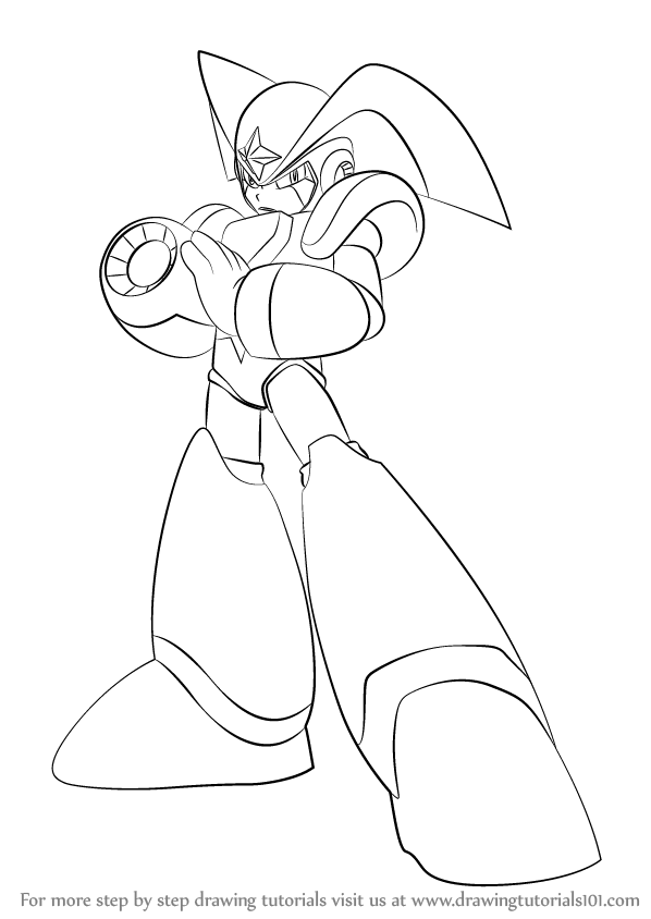 Step By Step How To Draw Bass From Mega Man