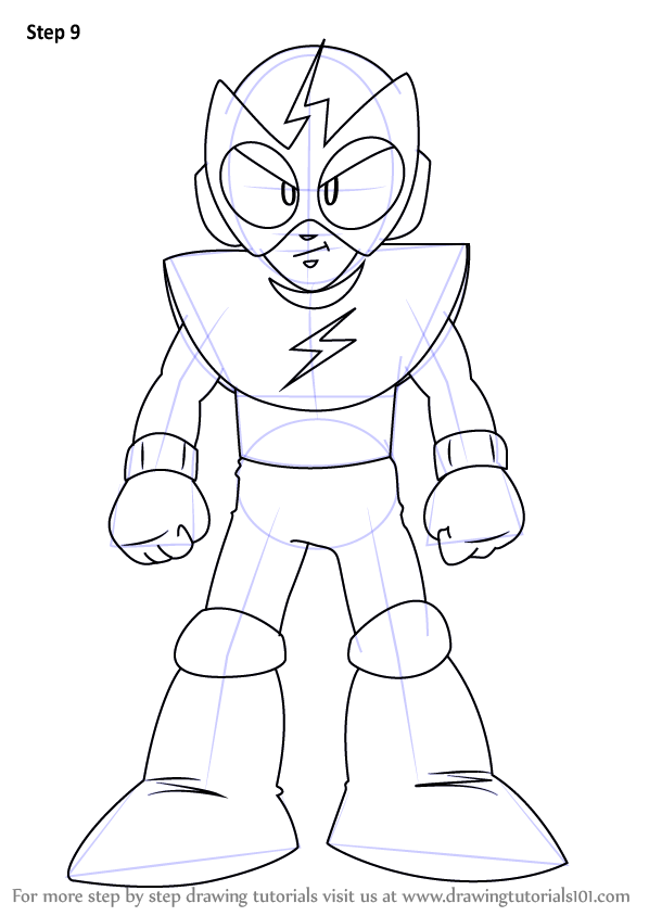 learn how to draw elec man from mega man mega man step by step drawing tutorials