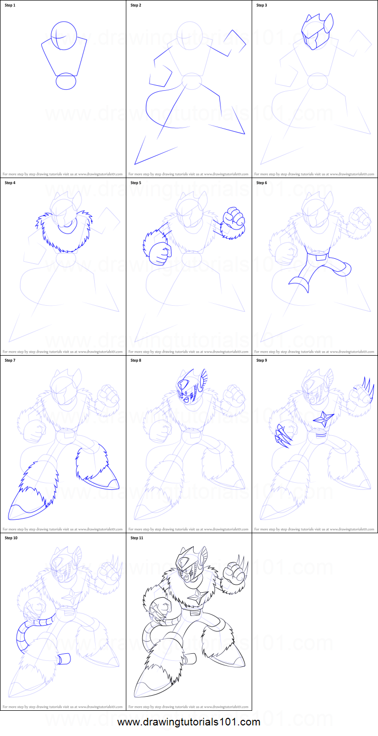 How to Draw Pluto from Mega Man printable step by step drawing