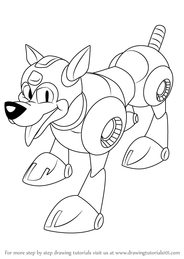 Step By Step How To Draw Rush From Mega Man