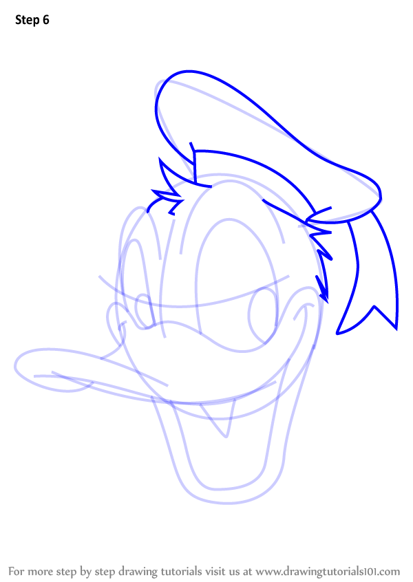 Step By Step How To Draw Donald Duck Face From Mickey Mouse