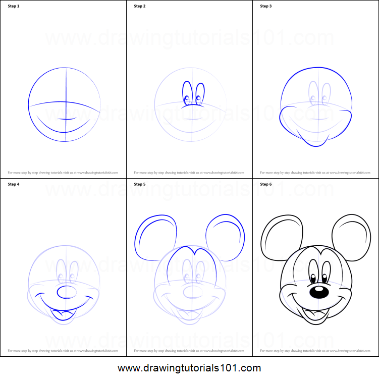 How to draw mickey mouse face from mickey mouse clubhouse printable step by step drawing sheet drawingtutorials101 com