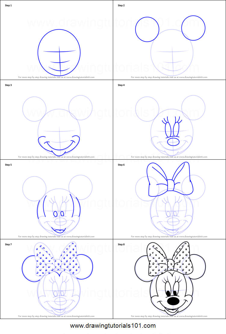 How to draw minnie mouse face from mickey mouse clubhouse for How to draw with a mouse