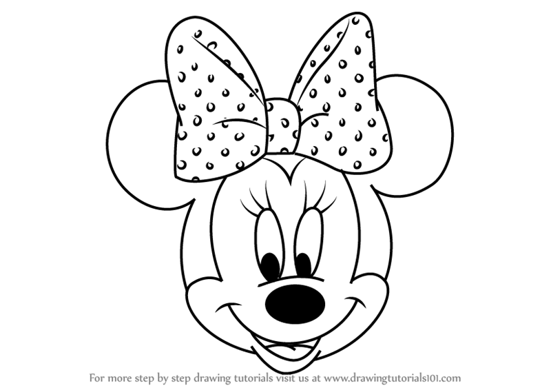 Step by Step How to Draw Minnie Mouse Face from Mickey ...