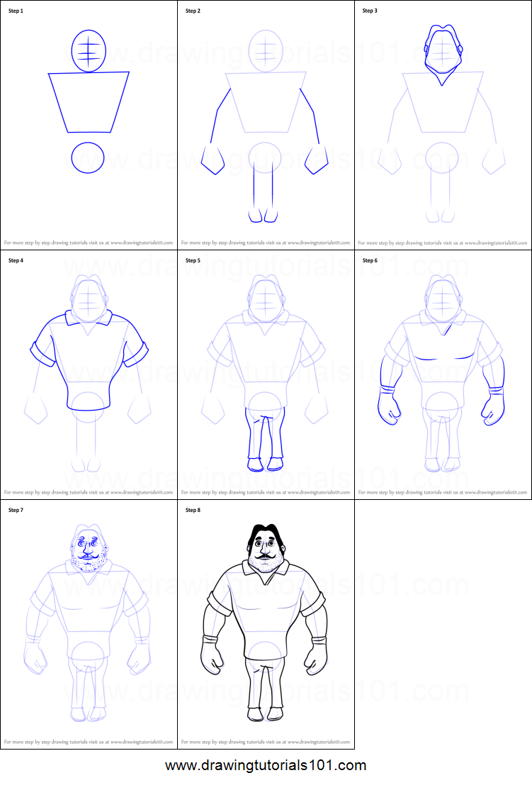 How to draw boxer from motu patlu printable step by step drawing