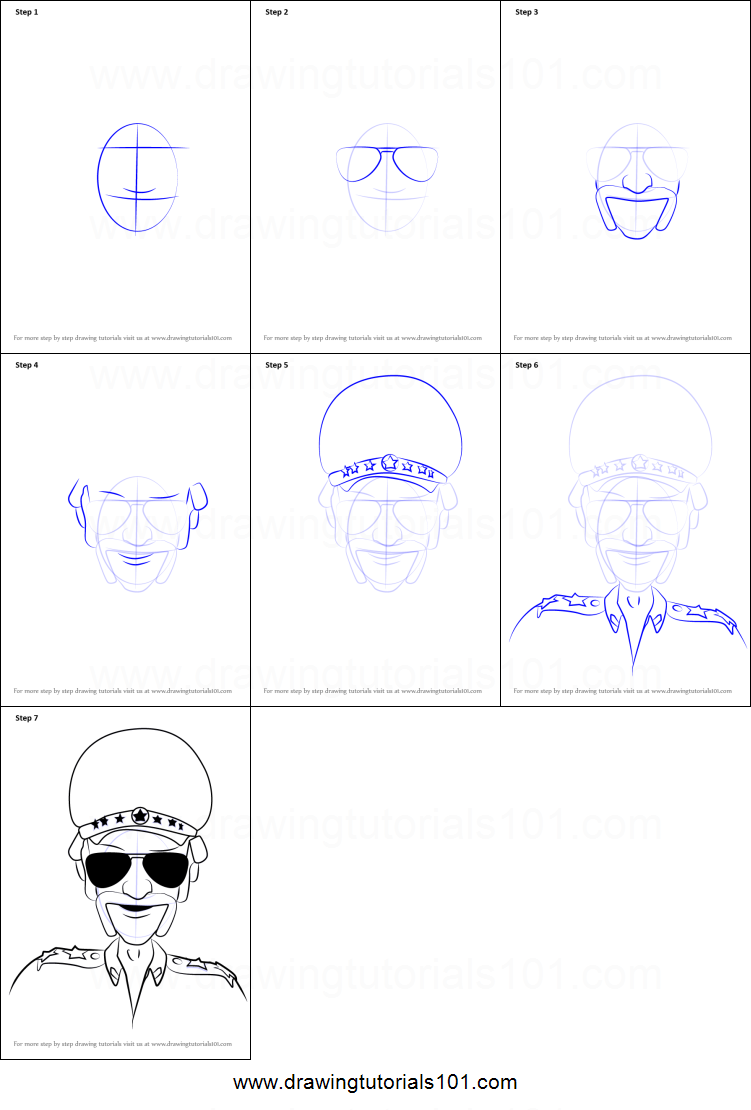 How to draw chingam from motu patlu printable step by step drawing