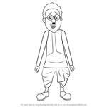 How to Draw Ghasitaram from Motu Patlu