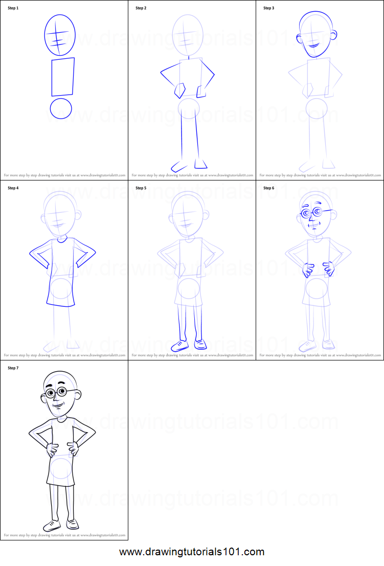 How to draw patlu from motu patlu printable step by step drawing