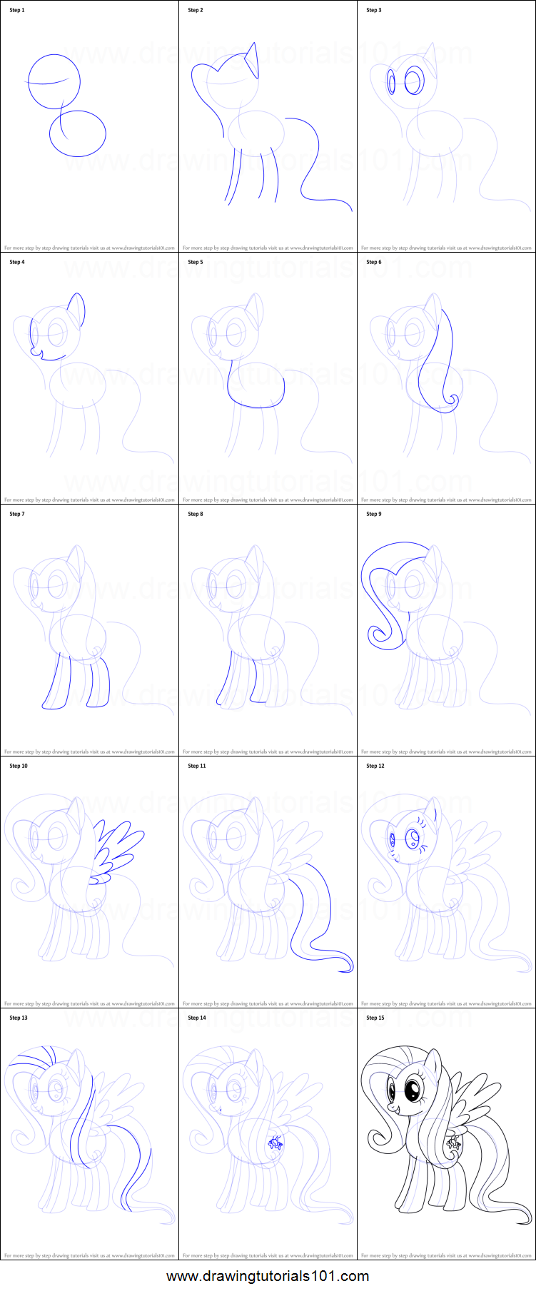 how to draw fluttershy from my little pony friendship is magic printable step by step drawing sheet drawingtutorials101com