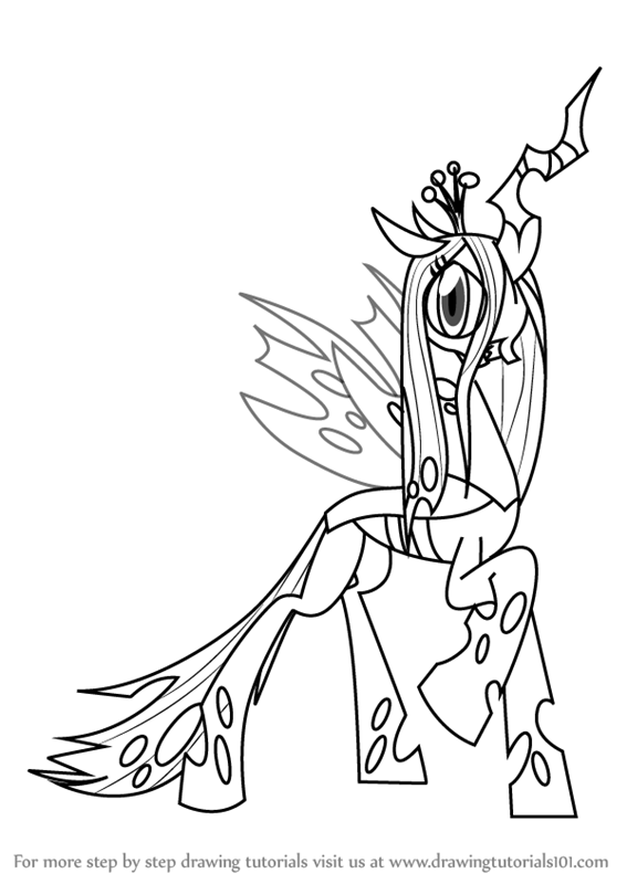 Step By Step How To Draw Queen Chrysalis From My Little