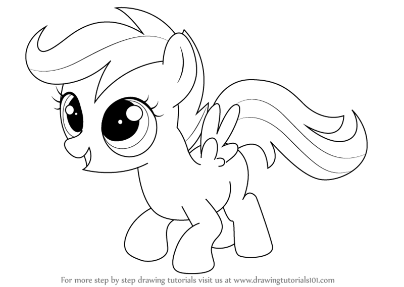 learn how to draw scootaloo from my little pony friendship is magic my little pony friendship is magic step by step drawing tutorials