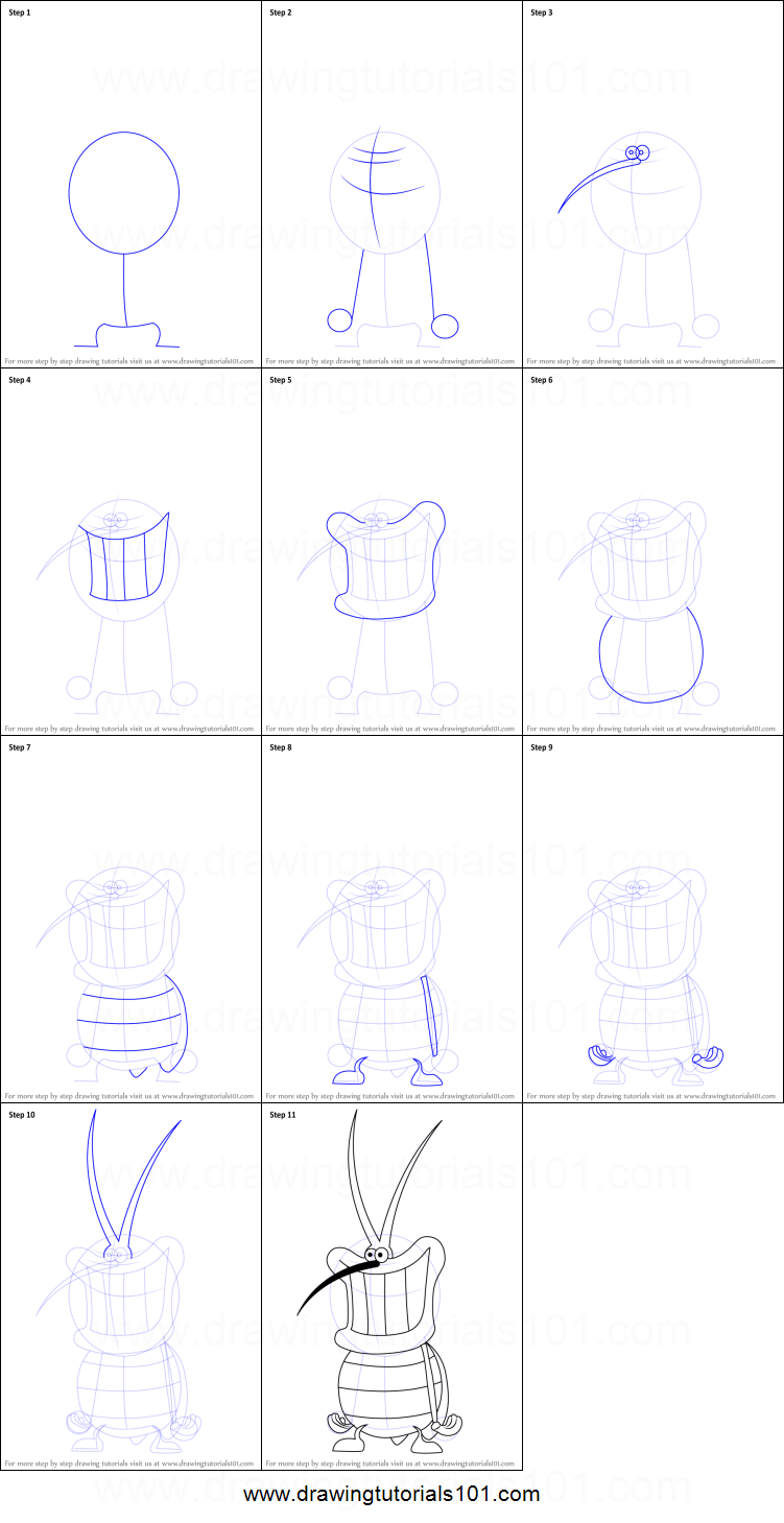 How To Draw A Oggy Step By Step