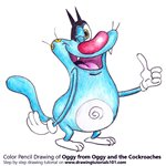 How to Draw Oggy from Oggy and the Cockroaches
