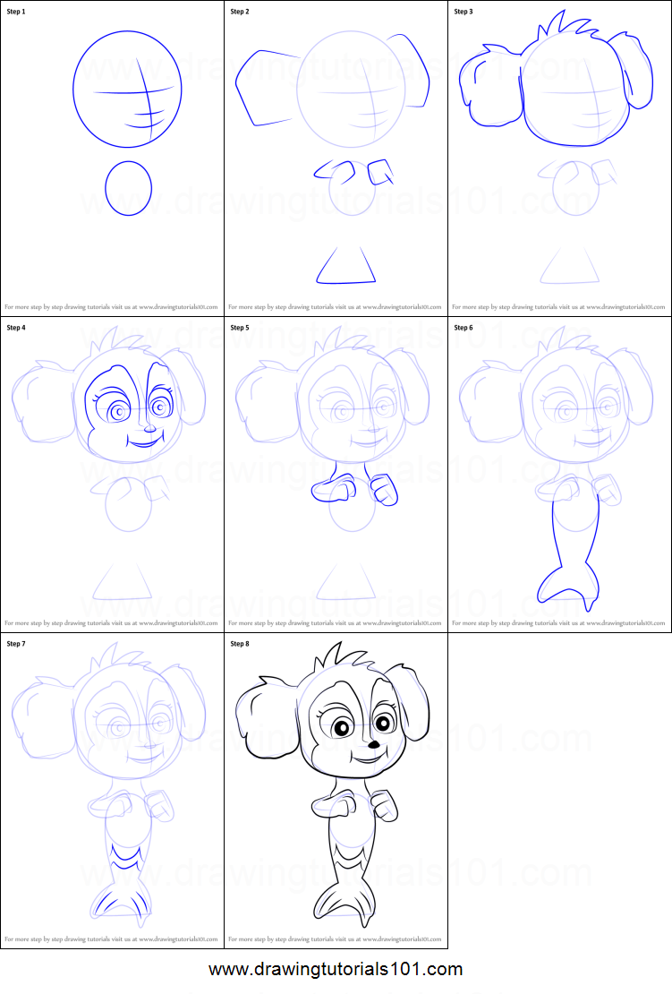 How To Draw Baby Mer Pup From Paw Patrol Printable Step By Step Drawing Sheet Drawingtutorials101 Com