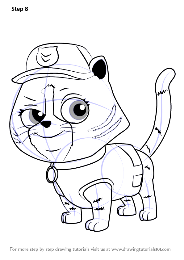 Learn How To Draw Cat Rocky From Paw Patrol Paw Patrol
