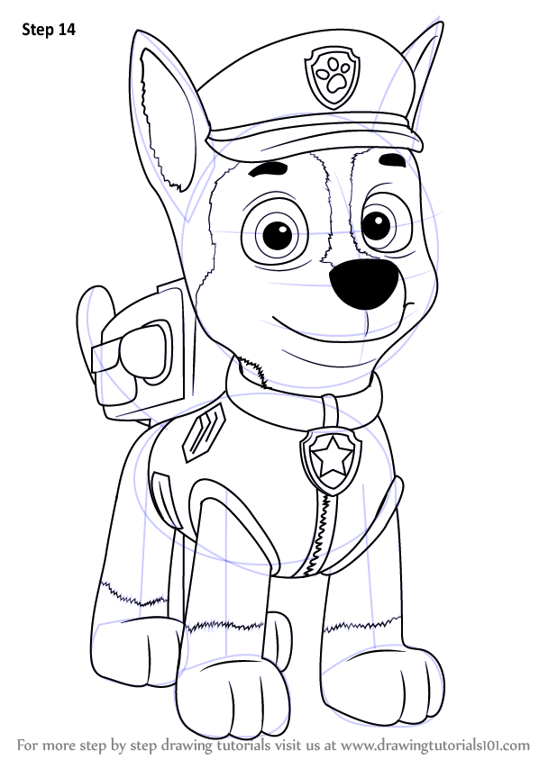Learn How To Draw Chase From Paw Patrol Paw Patrol Step