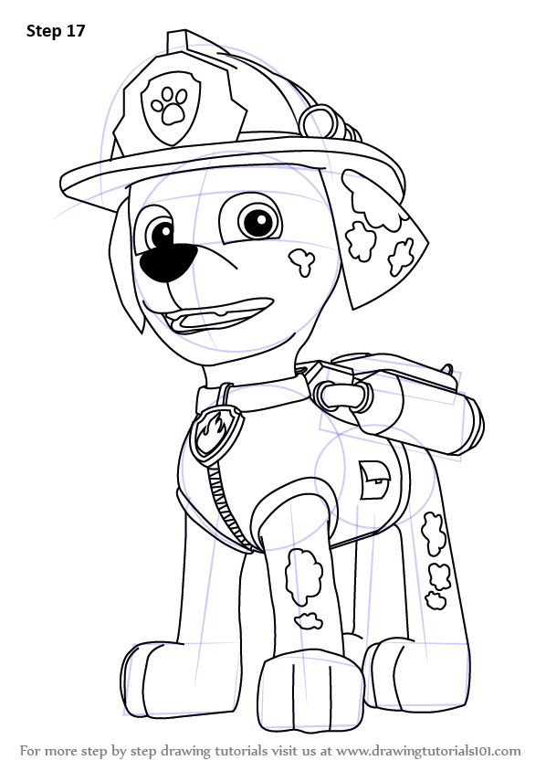 learn how to draw marshall from paw patrol paw patrol