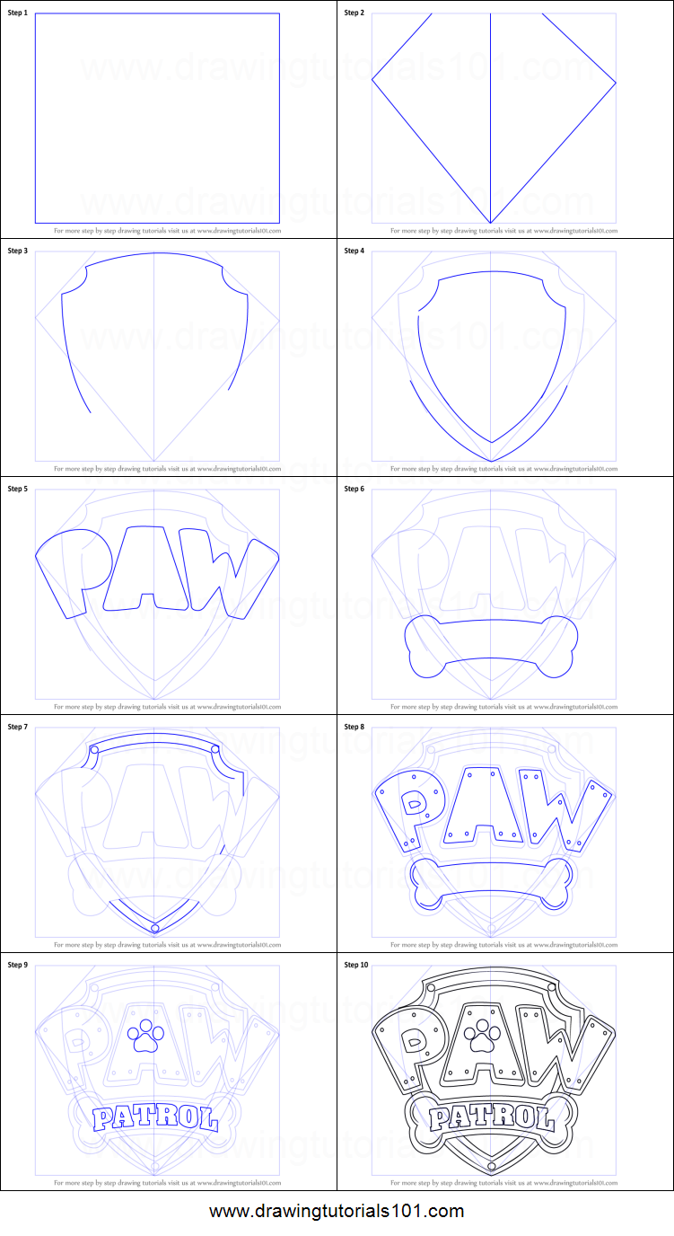 How To Draw Paw Patrol Badge Printable Step By Step Drawing