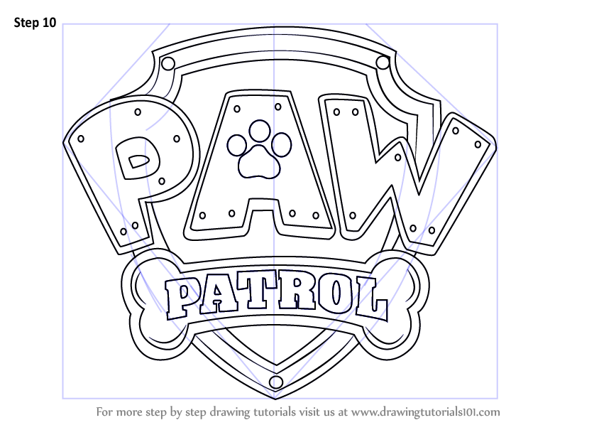 Learn How to Draw Paw Patrol Badge PAW Patrol Step by